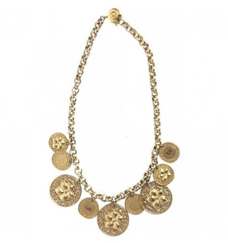 Vintage Sonia Rykiel golden flower and coin motif charm dangling necklace. Gorgeous masterpiece jewelry.
