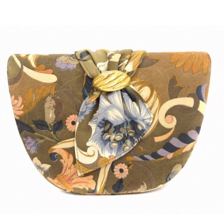 cc5abea3b03 Vintage Gucci khaki brown tone flora printed satin fabric half moon shape  clutch bag