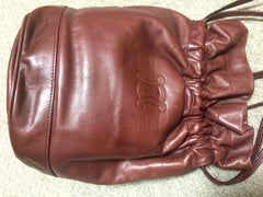 Vintage Celine wine brown nappa leather hobo bucket shoulder bag with blason mark
