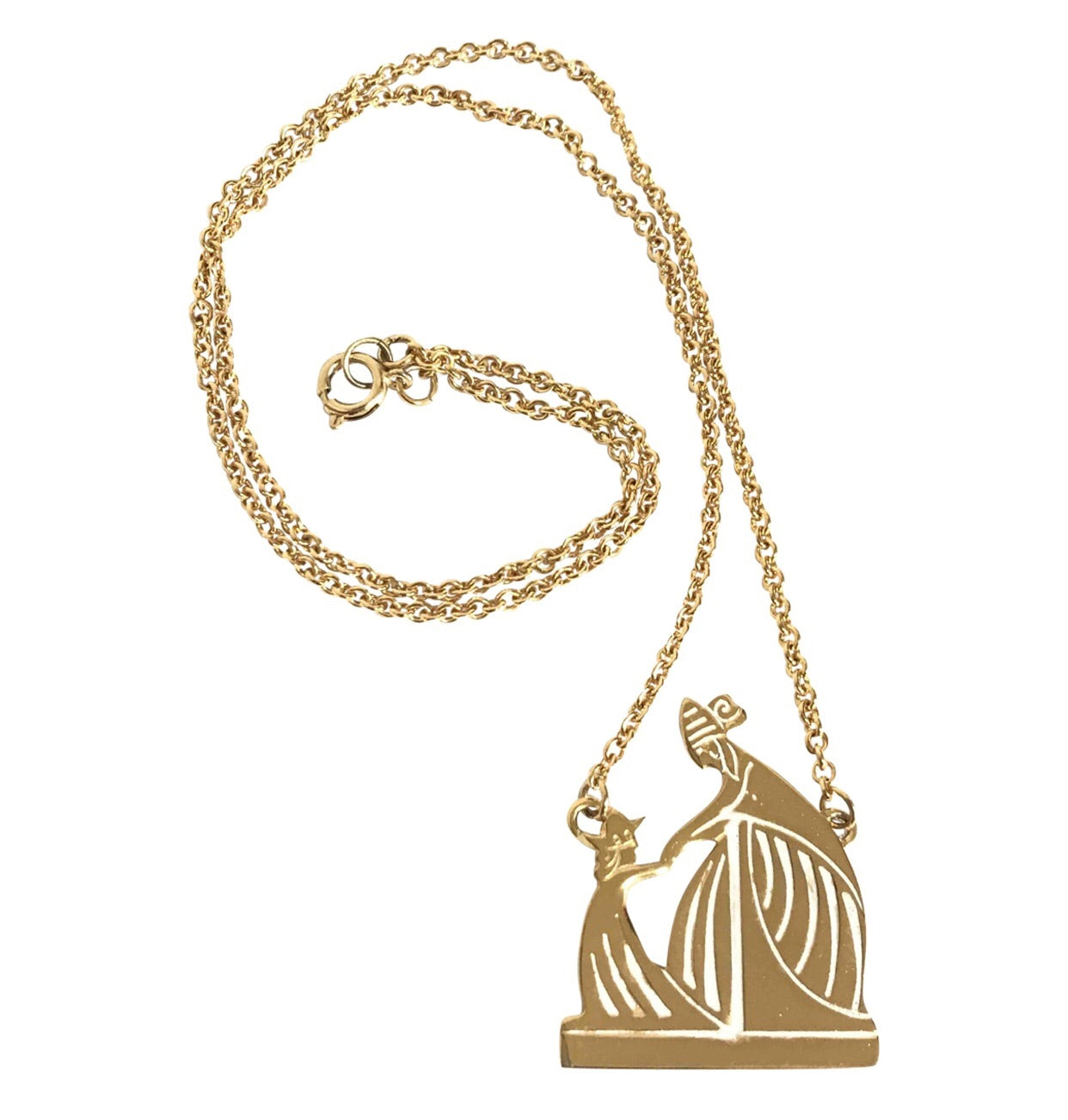 Vintage LANVIN golden skinny chain necklace with logo charm pendant top. Perfect jewelry gift.