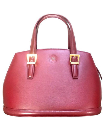 Vintage Valentino Garavani wine leather handbag with golden buckles. Classic Valentino purse for any occasions.