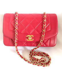 Reserved for Alison. Vintage CHANEL lipstick red lambskin classic 2.55 flap chain shoulder bag, Diana bag with gold tone CC closure. Must have daily use purse.