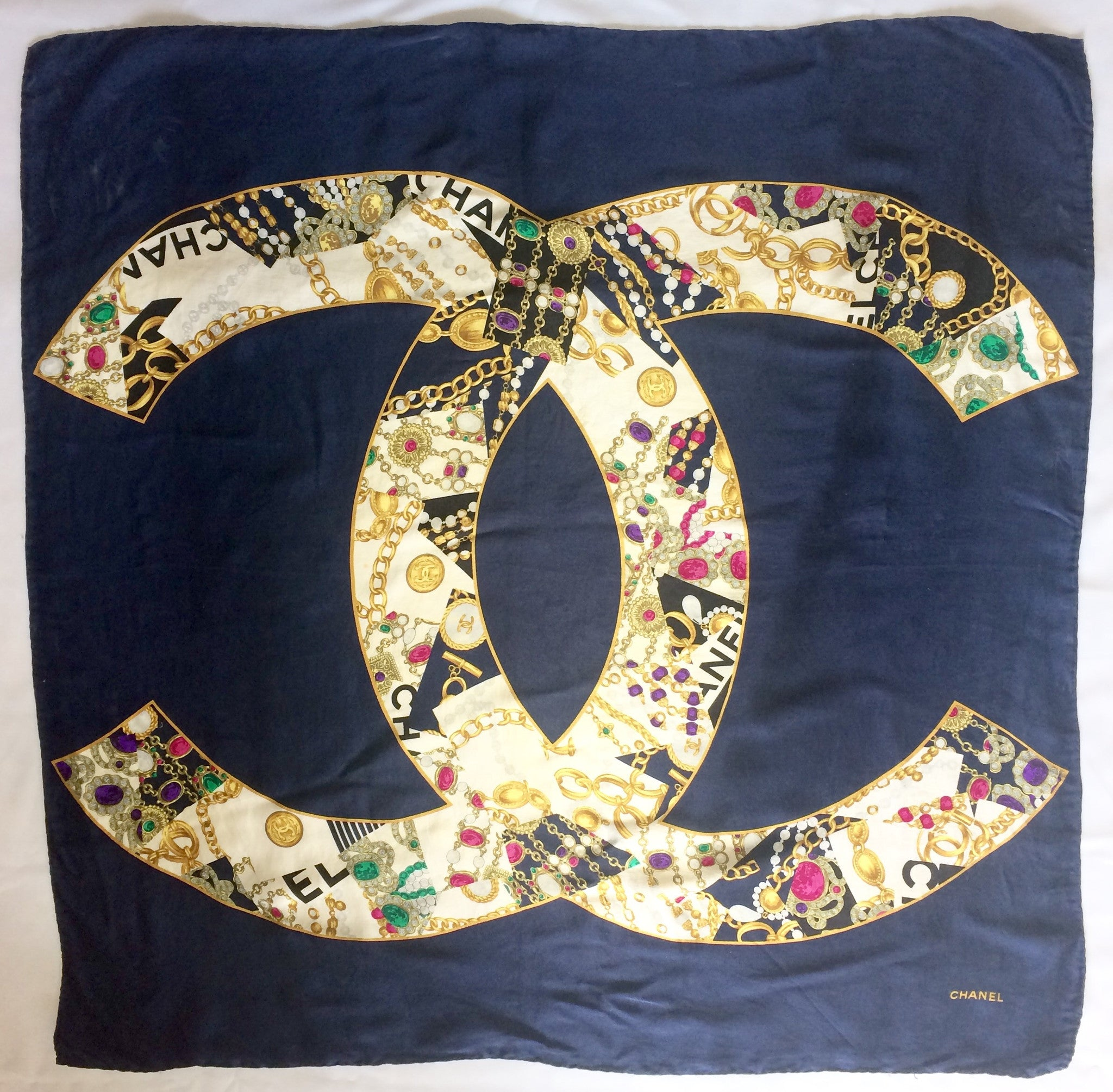 e8612bb8bee Vintage CHANEL large navy 100% silk scarf with gold