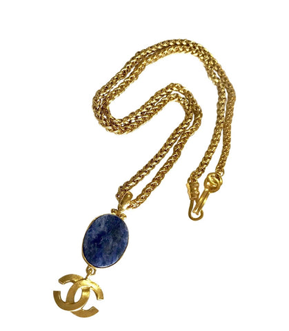 MINT. Vintage CHANEL oval blue stone and CC mark pendant top statement necklace. Gorgeous vintage masterpiece jewelry.