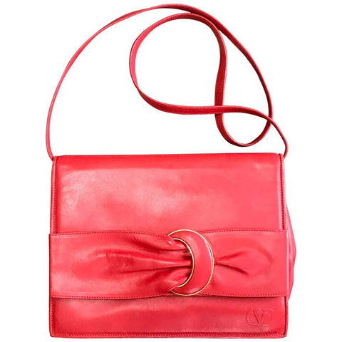 Vintage Valentino Garavani orange red leather clutch shoulder bag with a large gathered buckle design flap and V motif. Must have.