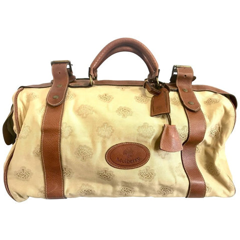 Vintage Mulberry beige logo jacquard fabric travel bag, duffle bag with brown leather trimmings. Unisex use.