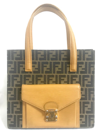 c5b553ac65 Vintage FENDI classic logo pecan jacquard and mustard yellow epi leather  tote bag with golden closure
