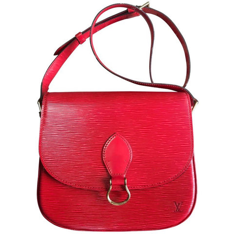 Vintage Louis Vuitton red epi leather shoulder bag. Classic purse. Perfect vintage accent to your outfit. Hot lipstick red. Great gift.