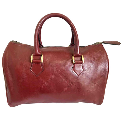 Vintage Yves Saint Laurent red brown handbag , mini duffle bag. Classic speedy bag design unisex YSL purse.