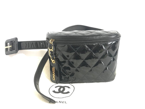 "MINT. Vintage CHANEL black patent enamel leather fanny pack, hip bag, party clutch. Ariana Grande loves it too. Must have. Belt size 28""-30"""