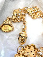 Vintage Chanel glass stone diamond shape charm chain belt with unique CC and acorn charms. Can be necklace. Rare statement accessory piece.