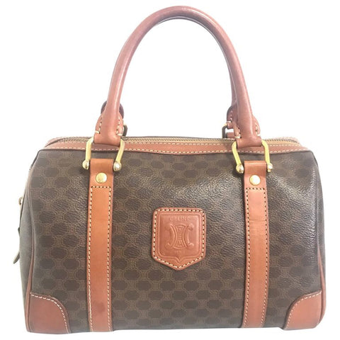 Vintage CELINE mini duffle bag, speedy style handbag with macadam blaison pattern and brown leather trimmings. Perfect daily use bag.