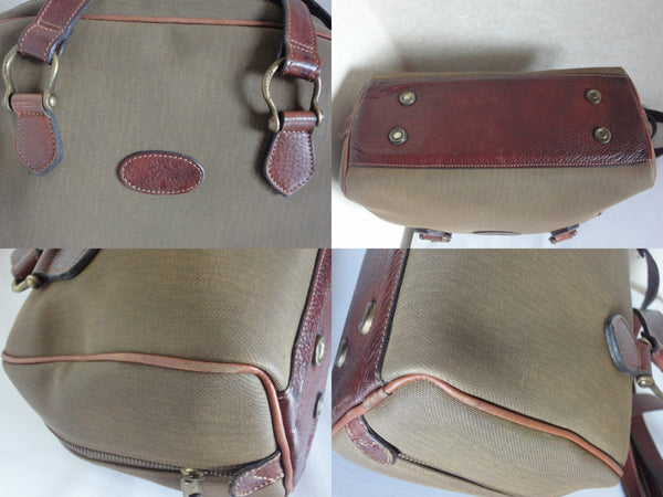 21873e06a4d Unisex Vintage Mulberry khaki shoulder bag with fabric and brown leather  mix trimmings and handles.
