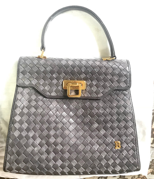 d523aa4bc42a Vintage Bally taupe gray intrecciato leather handbag with gold tone closure  in classic kelly style.