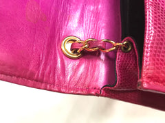 Vintage CHANEL hot pink genuine lizard leather envelop style flap shoulder bag with CC stitch mark and golden chain strap. Rare masterpiece.