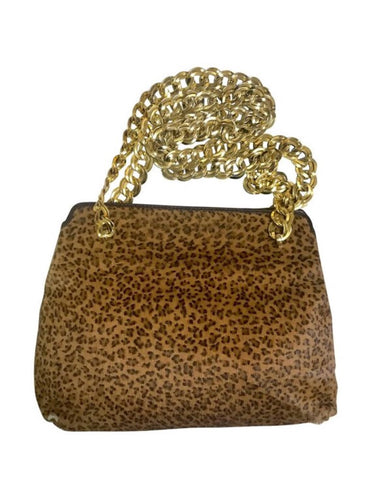 Vintage Bottega Veneta genuine leather shoulder bag with allover faux leopard print and double golden chain straps.