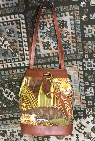 07286e570573c5 ... Vintage Salvatore Ferragamo leopard in safari jungle print brown  leather hobo shoulder bag with golden gancini ...