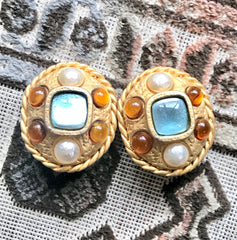 Vintage CHANEL golden oval faux pearl and light blue and orange jewel stone extra large earrings. Masterpiece jewelry.