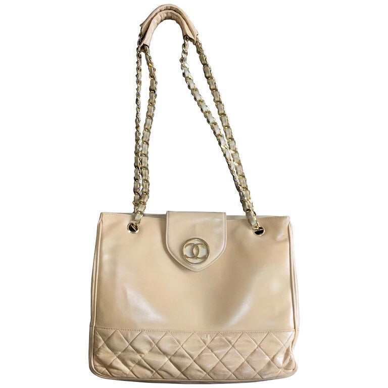 58c14eb9d139 Vintage CHANEL beige calf leather large chain shoulder tote bag with golden  CC mark motif at