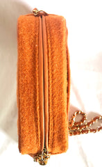 Vintage CHANEL orange tweed matelasse chain shoulder bag, camera bag with CC tassel charm. Must have rare purse.