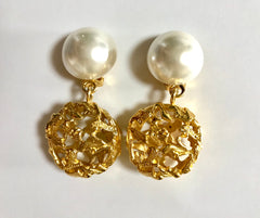 Vintage Salvatore Ferragamo white faux pearl dangle earrings with golden shoe design featured charm. Gorgesous jewelry.
