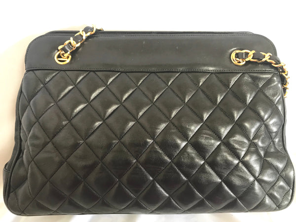 50bd887862b27 ... Vintage CHANEL black lambskin large tote bag with gold tone chains and  jumbo CC charm to ...