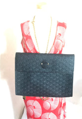 Vintage Karl Lagerfeld black fan pattern document bag, portfolio purse with logo motif. Great for unisex and daily use.