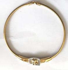Vintage Givenchy thick and flat golden chain statement necklace with gold and silver tone  buckle belt design top. Paris, New York, Audrey