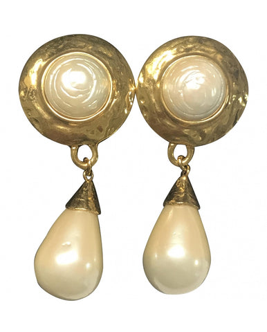 Vintage Yves Saint Laurent golden dangling earrings with round and teardrop white faux pearls.  Rare YSL jewelry.