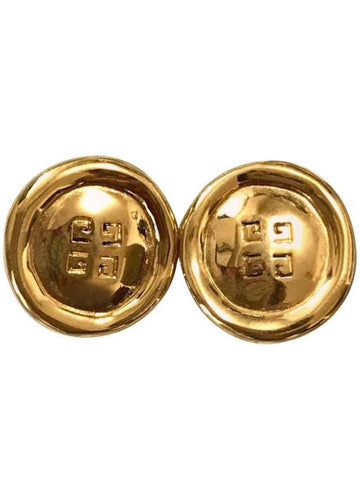 Vintage Givenchy golden round shape earrings with embossed logo mark. Classic jewelry piece.