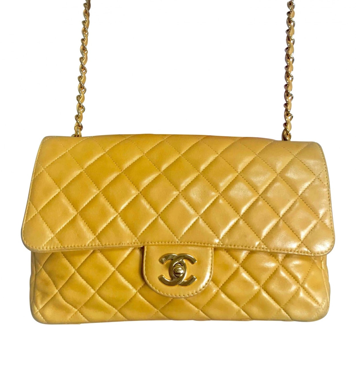 5f6488780e50 Vintage Chanel classic 2.55 rare yellow color soft lamb leather chain  shoulder bag with golden CC