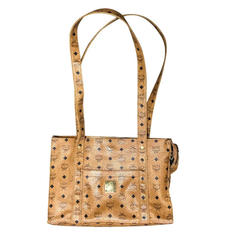 Vintage MCM brown monogram large tote bag with long straps. Classic style for unisex use. By Michael Cromer.
