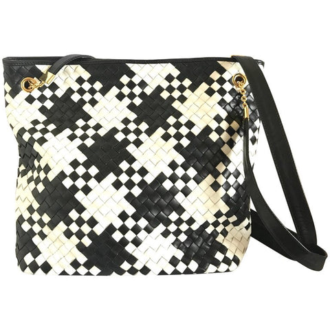 Vintage Bottega Veneta intrecciato woven lambskin shoulder tote bag in black and white mosaic pattern. One-of-a-kind purse from the old era.