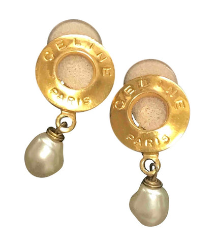 Vintage Celine golden round frame earrings with dangle faux pearl. Classic jewelry piece back in the era.