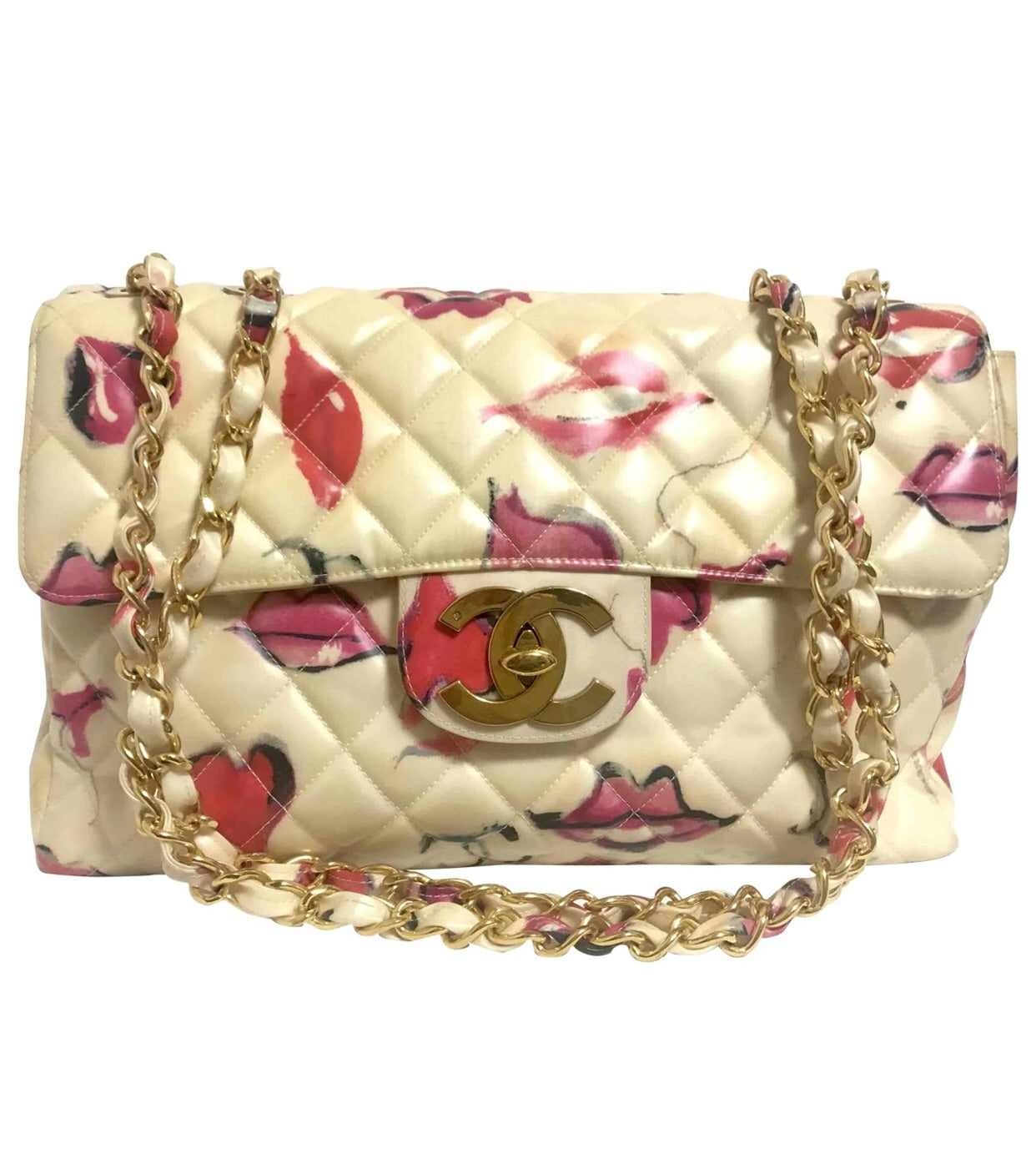 cc664cdbaf84 Vintage CHANEL cream vinyl coated canvas 2.55 jumbo chain shoulder bag with  CC mark and lip