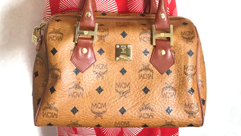 Vintage MCM brown monogram speedy bag style handbag, mini duffle bag. Unisex and daily use purse. Classic style in originality.