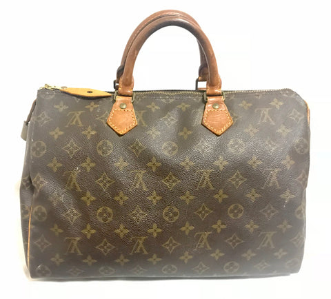 80's Vintage Louis Vuitton brown monogram Speedy 35 handbag. One of the most popular styles from LV for wide generations. Classic bag.