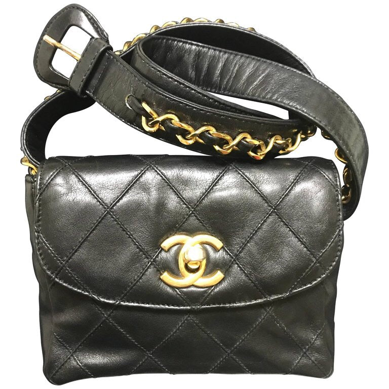 f8c3adb22b1c Vintage CHANEL black leather waist purse, fanny pack, hip bag with gold CC  closure