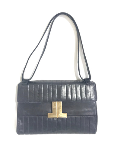 Vintage LANVIN classic dark navy lamb leather vertical stitch design shoulder bag with iconic golden logo motif. For daily use.