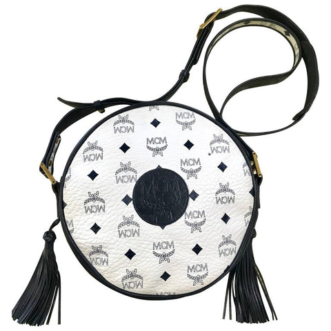 Vintage MCM navy and white monogram round shape Suzy Wong shoulder bag with leather trimmings. Unisex purse Designed by Michael Cromer.