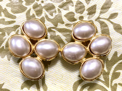 Vintage CHANEL large oval faux pearl earrings with golden frames. Elegant Chanel jewelry. Perfect gift. Wedding, and formal ceremony.
