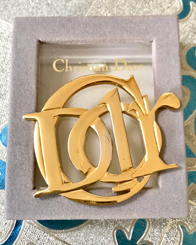 Vintage Christian Dior golden pin brooch. Can be used for scarf, hat, shawl, jacket, and anything you can think of. Greta gift idea.