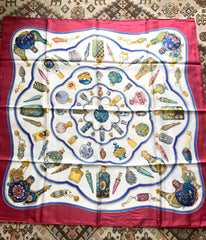 Vintage HERMES Carre large silk scarf with blue, yellow, green, pink, multicolor perfume bottle print in wine. Qu' importe le flacon.