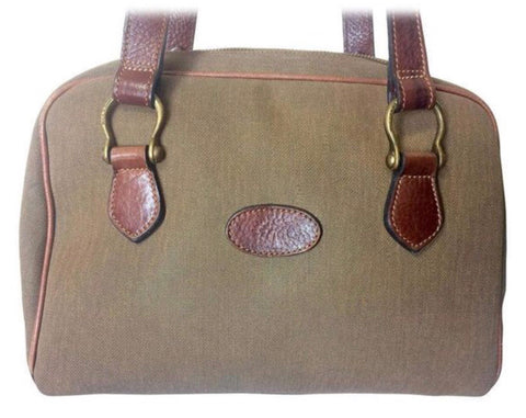 Vintage Mulberry khaki shoulder bag with fabric and brown leather mix trimmings and handles. Unisex. Roger Saul