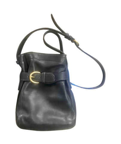 Vintage COACH  navy genuine leather hobo bucket shoulder bag, classic purse. Made in Costa Rica