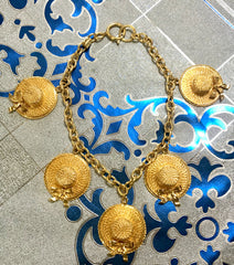 Vintage CHANEL rare jewelry, dangling hat design charm chain statement necklace. Gorgeous vintage masterpiece.