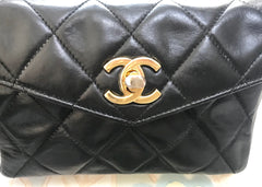 "Vintage CHANEL black leather 2.55 waist purse, fanny pack with golden buckle belt. Size 30""~ 35"", 76~89cm List20190304"
