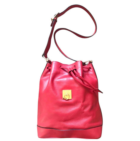 Vintage Celine red leather hobo bucket shoulder bag with a golden square logo motif and matching pouch. Classic drawstrings purse.
