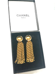 Vintage CHANEL golden round motif and logo letter dangling earrings. Rare and adorable jewelry for your collection. Can be 2 way use.