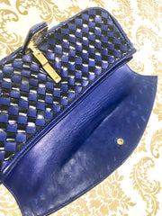 Vintage Bally black and blue enamel intrecciato design leather clutch purse, mini bag. Unique purse with golden B logo charm.